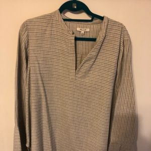 Tunic top grey stripes and cream